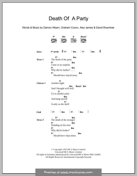 Death of a Party (Blur): Texte und Akkorde by Alex James, Damon Albarn, David Rowntree, Graham Coxon