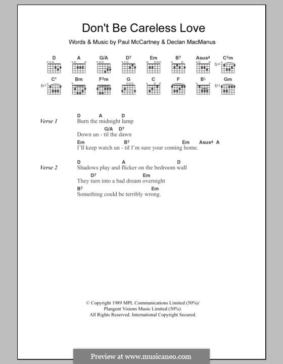 Don't Be Careless Love: Text und Akkorde by Declan Macmanus, Paul McCartney