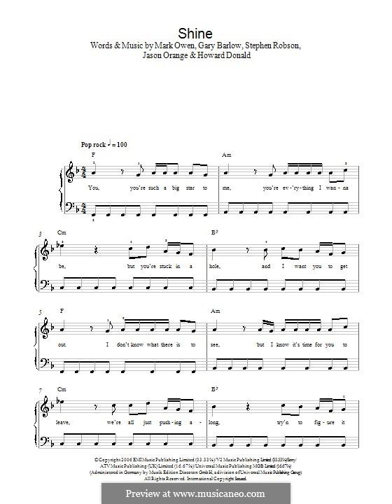 Shine (Take That): Einfache Noten für Klavier by Gary Barlow, Howard Donald, Jason Orange, Mark Owen, Steve Robson