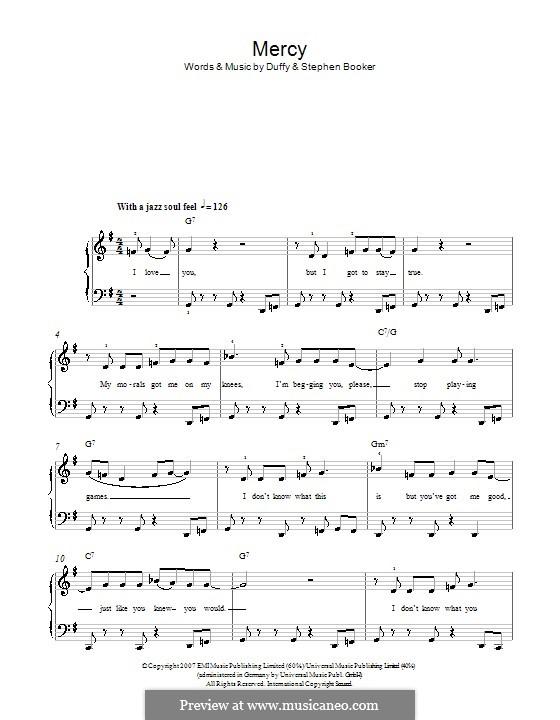 Mercy (Duffy): Für Klavier, leicht by Aimee Duffy, Steve Booker
