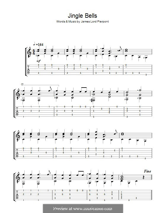 Jingle Bells (Printable scores): Für Gitarre (Acoustic) by James Lord Pierpont