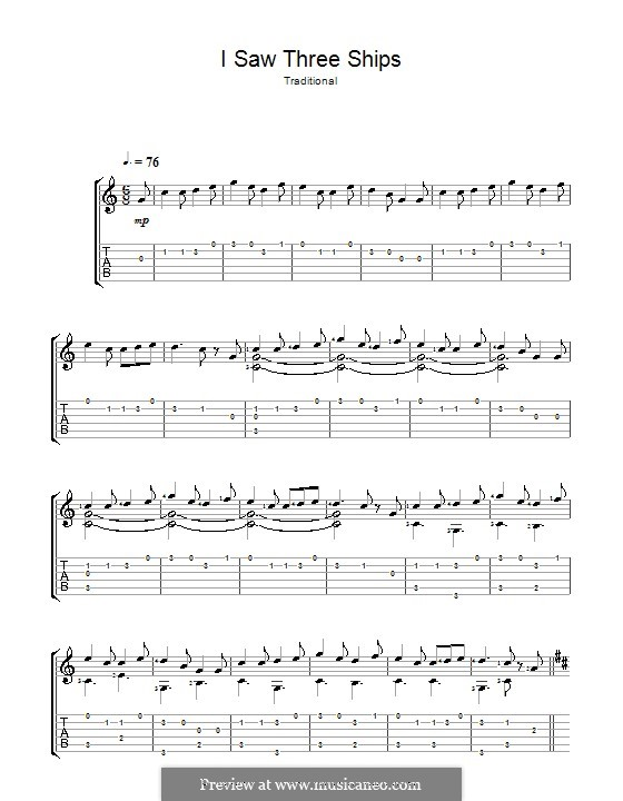 I Saw Three Ships: Für Gitarre mit Tabulatur by folklore