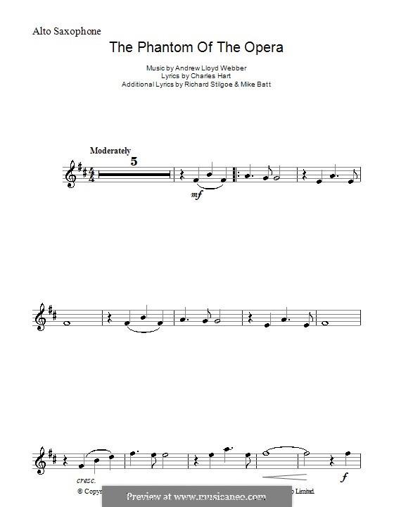 The Phantom of the Opera: Für Altsaxophon by Andrew Lloyd Webber