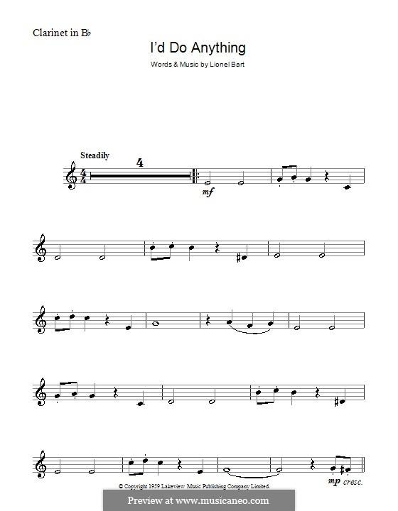 I'd Do Anything (from Oliver!): Für Klarinette by Lionel Bart