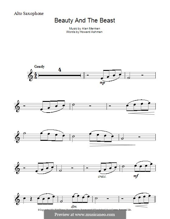 Beauty and the Beast (Celine Dion and Peabo Bryson): Für Altsaxophon by Alan Menken