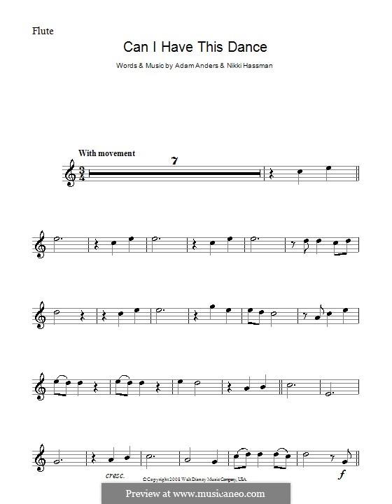 Can I Have This Dance (High School Musical 3): Für Flöte by Adam Anders, Nikki Hassman
