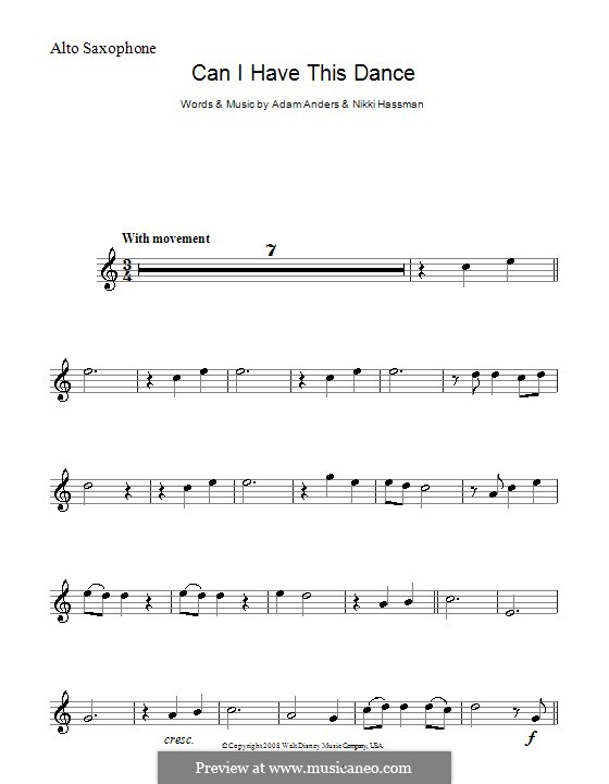 Can I Have This Dance (High School Musical 3): Für Altsaxophon by Adam Anders, Nikki Hassman