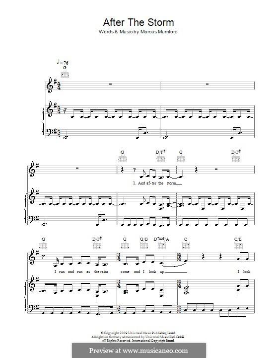 After the Storm (Mumford & Sons): Für Stimme und Klavier (oder Gitarre) by Marcus Mumford
