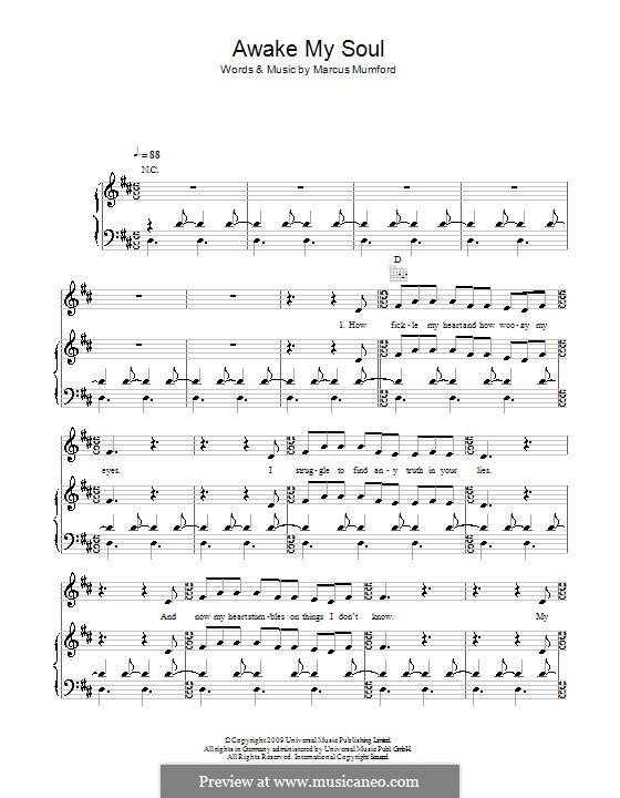 Awake My Soul (Mumford & Sons): Für Stimme und Klavier (oder Gitarre) by Marcus Mumford