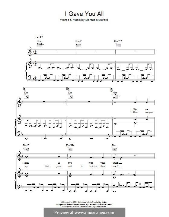 I Gave You All (Mumford & Sons): Für Stimme und Klavier (oder Gitarre) by Marcus Mumford