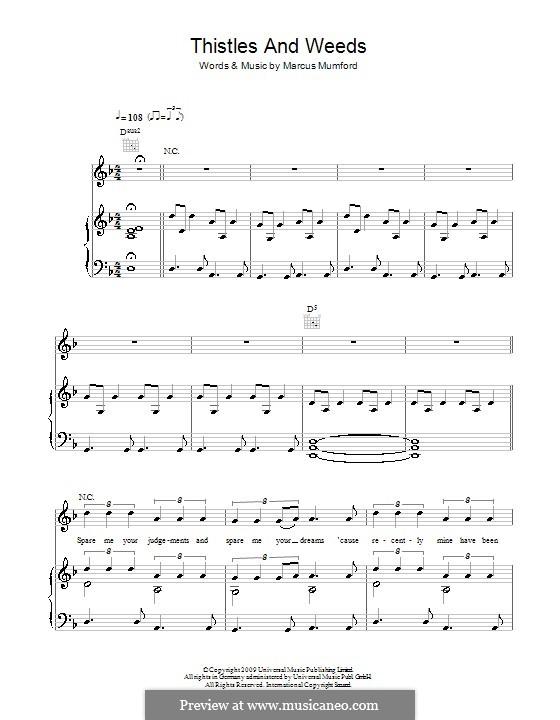 Thistle and Weeds (Mumford & Sons): Für Stimme und Klavier (oder Gitarre) by Marcus Mumford