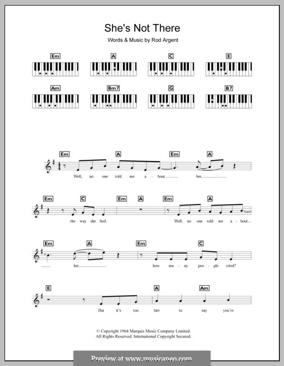 She's Not There (The Zombies): Für Keyboard by Rod Argent