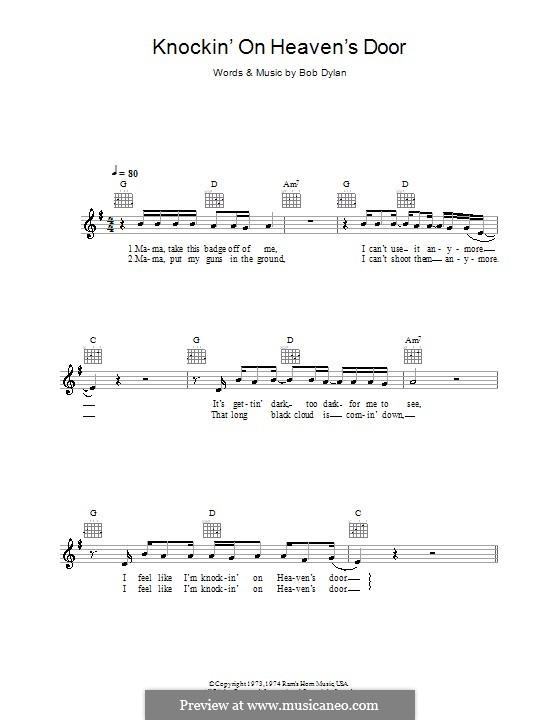 Knockin' on Heaven's Door: Melodie, Text und Akkorde by Bob Dylan