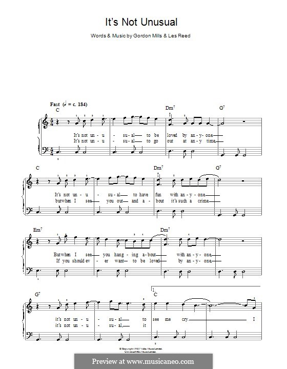 It's not Unusual (Tom Jones): Einfache Noten für Klavier by Gordon Mills, Les Reed