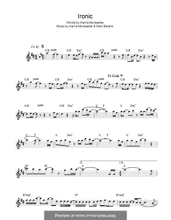 Ironic: Für Altsaxophon by Alanis Morissette, Glen Ballard