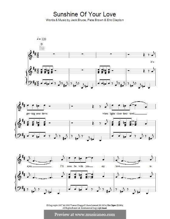 Sunshine of Your Love (Cream): Für Stimme und Klavier (oder Gitarre) by Eric Clapton, Jack Bruce, Pete Brown
