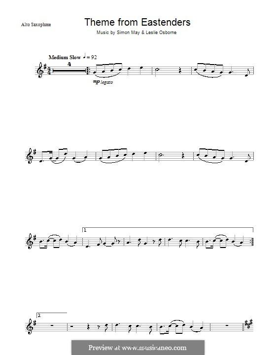Theme from EastEnders: Für Altsaxophon by Leslie Osborne, Simon May