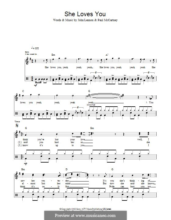 She Loves You (The Beatles): Für Trommeln by John Lennon, Paul McCartney