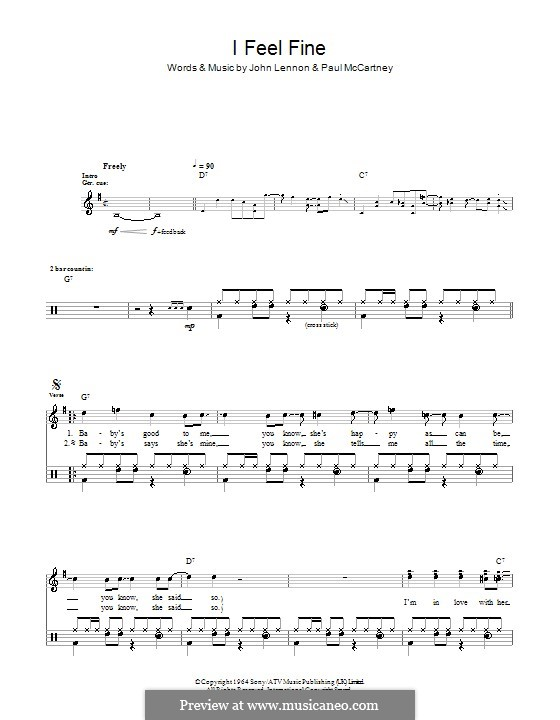 I Feel Fine (The Beatles): Für Trommeln by John Lennon, Paul McCartney