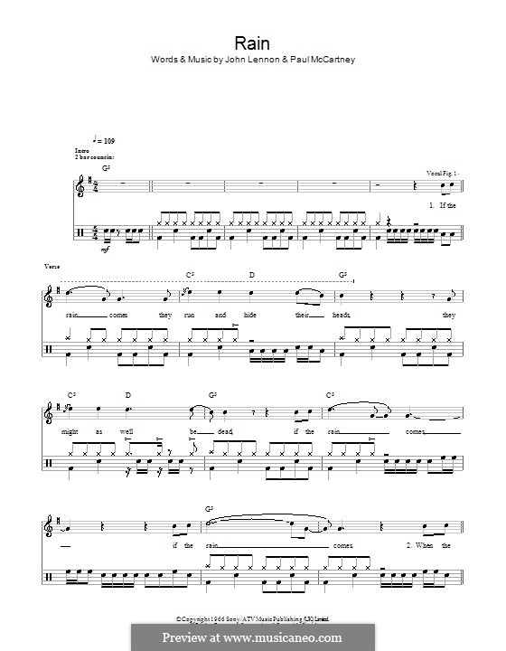 Rain (The Beatles): Für Trommeln by John Lennon, Paul McCartney