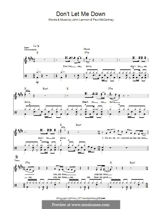 Don't Let Me Down (The Beatles): Für Trommeln by John Lennon, Paul McCartney
