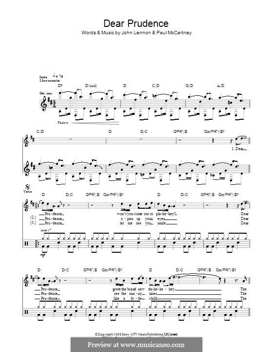 Dear Prudence (The Beatles): Für Trommeln by John Lennon, Paul McCartney