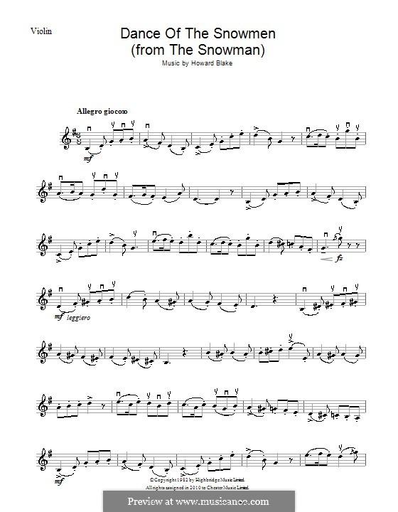 Dance of the Snowmen: Für Violine by Howard Blake
