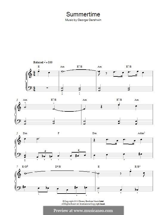 Summertime, für Klavier: Easy notes by George Gershwin
