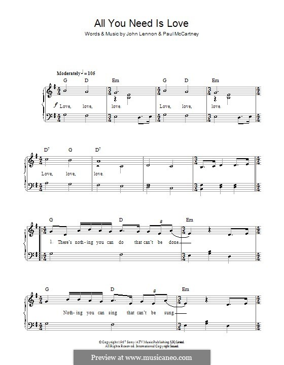 All You Need Is Love (The Beatles): Für Klavier, leicht by John Lennon, Paul McCartney