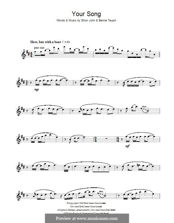 Your Song: Für Altsaxophon by Elton John