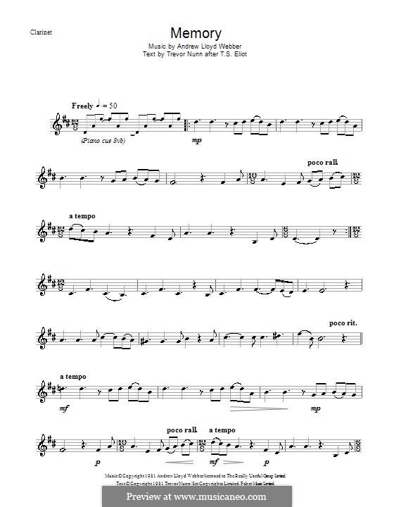Memory (from Cats): Für Klarinette by Andrew Lloyd Webber