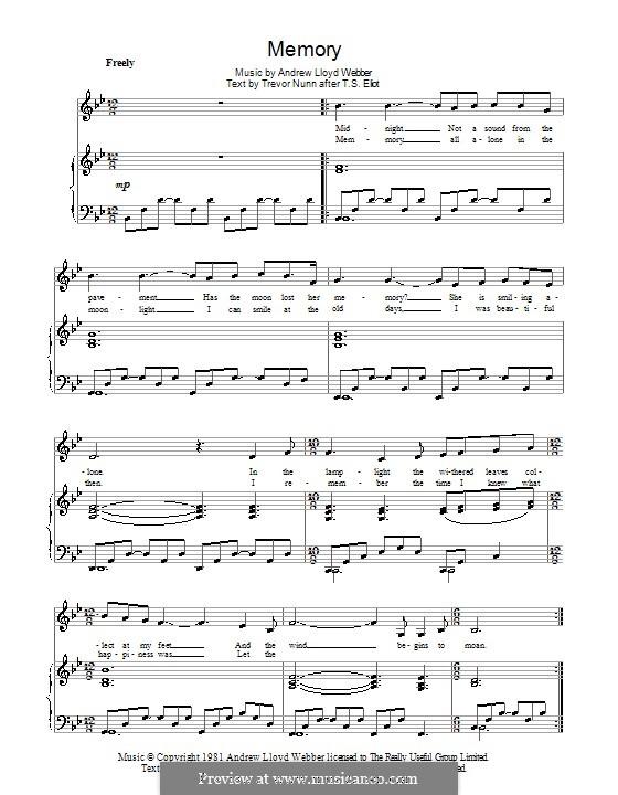 Memory (from Cats): Für Stimme und Klavier by Andrew Lloyd Webber