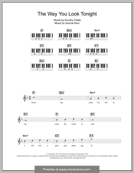 The Way You Look Tonight: Für Keyboard by Jerome Kern