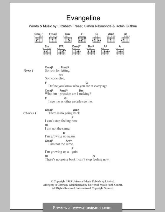 Evangeline (The Cocteau Twins): Text und Akkorde by Elizabeth Fraser, Robin Guthrie, Simon Raymonde