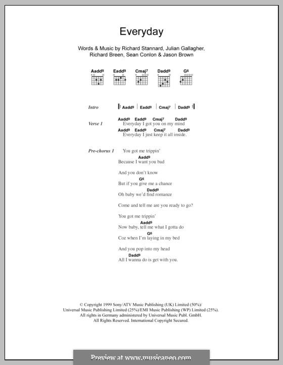 Everyday (Five): Text und Akkorde by Jason Brown, Julian Gallagher, Richard Breen, Richard Stannard, Sean Conlon