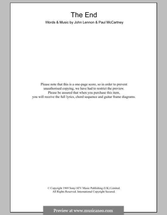 The End (The Beatles): Text und Akkorde by John Lennon, Paul McCartney