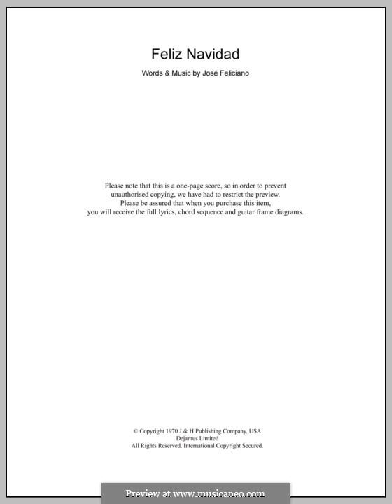 Feliz Navidad: Text und Akkorde by José Feliciano