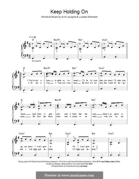 Keep Holding On: Einfache Noten für Klavier by Avril Lavigne, Lukas Gottwald