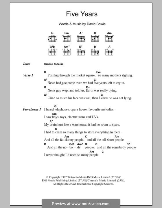 Five Years: Text und Akkorde by David Bowie