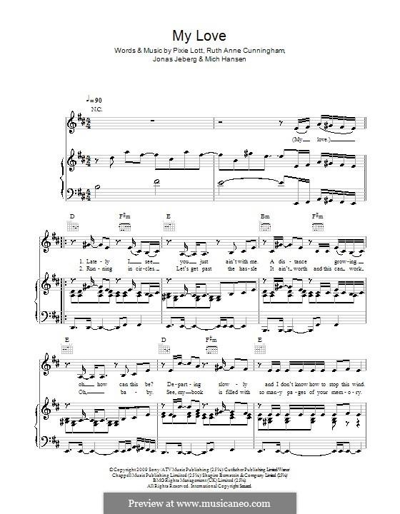 My Love: Für Stimme und Klavier (oder Gitarre) by Jonas Jeberg, Mich Hansen, Pixie Lott, Ruth Anne Cunningham
