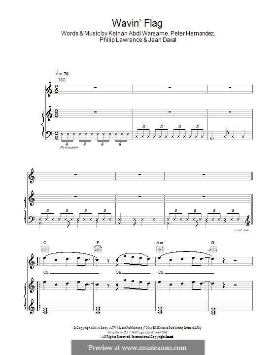 Wavin' Flag (Coca-Cola Celebration Mix): Für Stimme und Klavier (oder Gitarre) by Jean Daval, Keinan Abdi Warsame, Bruno Mars, Philip Lawrence