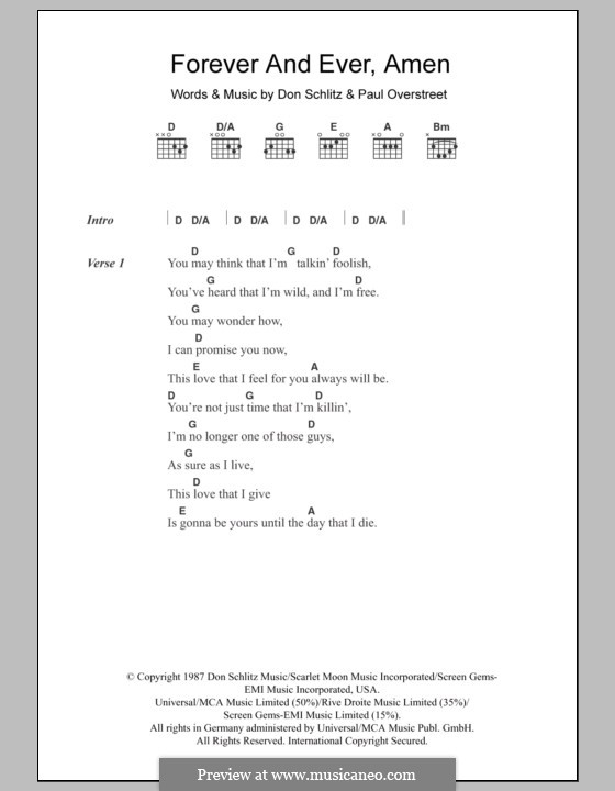 Forever and Ever, Amen (Randy Travis): Text und Akkorde by Don Schlitz, Paul Overstreet
