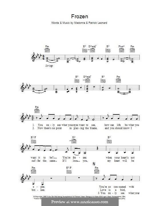 Frozen: Melodie, Text und Akkorde by Madonna, Patrick Leonard