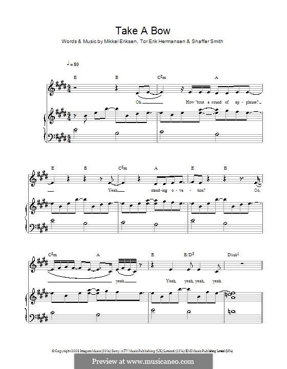 Take a Bow (Rihanna): Für Stimme und Klavier (oder Gitarre) by Mikkel Storleer Eriksen, Ne-Yo, Tor Erik Hermansen