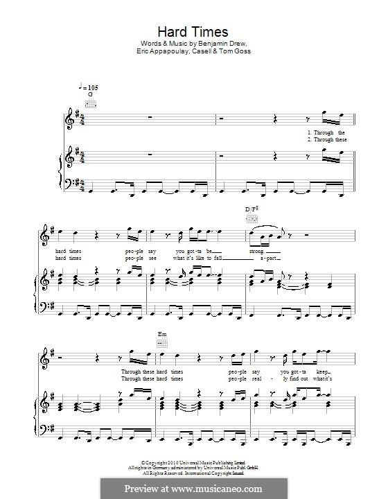 Hard Times (Plan B): Für Stimme und Klavier (oder Gitarre) by Casell, Benjamin Ballance-Drew, Eric Appapoulay, Tom Goss