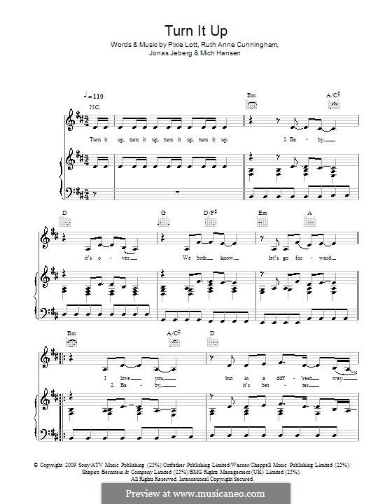 Turn It Up: Für Stimme und Klavier (oder Gitarre) by Jonas Jeberg, Mich Hansen, Pixie Lott, Ruth Anne Cunningham