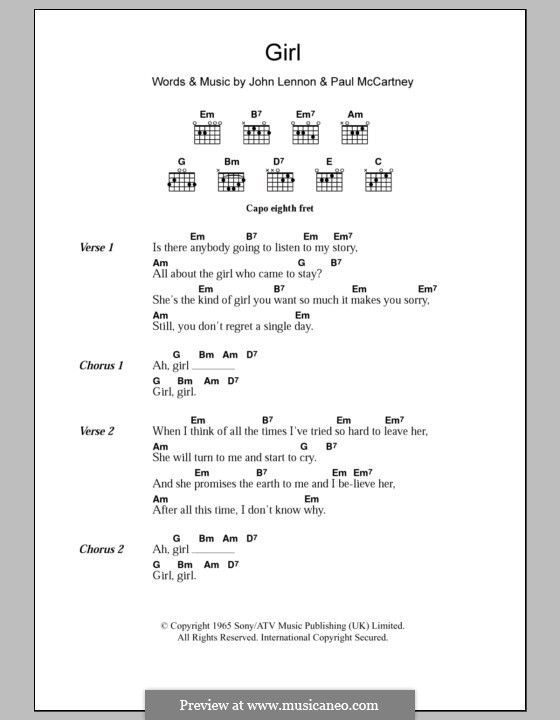 Girl (The Beatles): Text und Akkorde by John Lennon, Paul McCartney