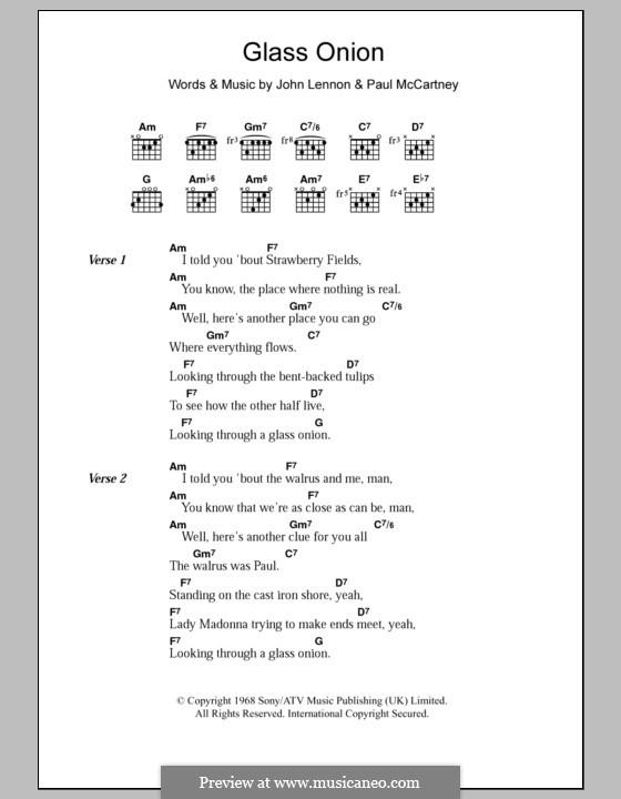 Glass Onion (The Beatles): Text und Akkorde by John Lennon, Paul McCartney