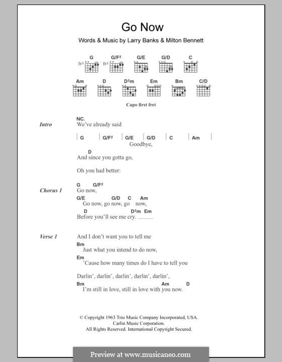 Go Now: Lyrics and chords (Bessie Banks) by Larry Banks, Milton Bennett
