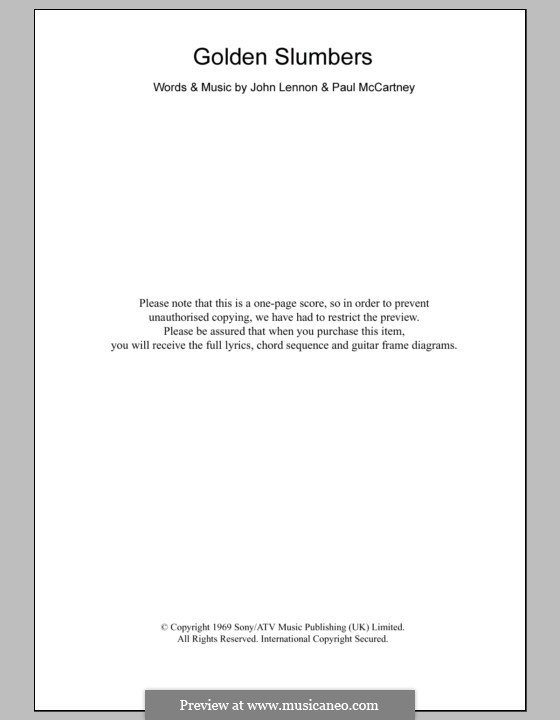 Golden Slumbers (The Beatles): Text und Akkorde by John Lennon, Paul McCartney